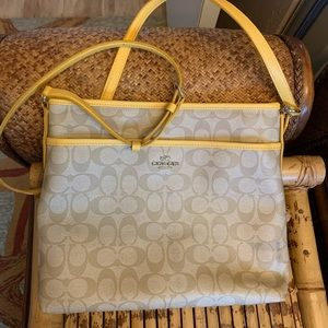 Coach Tan & Yellow Crossbody Bag